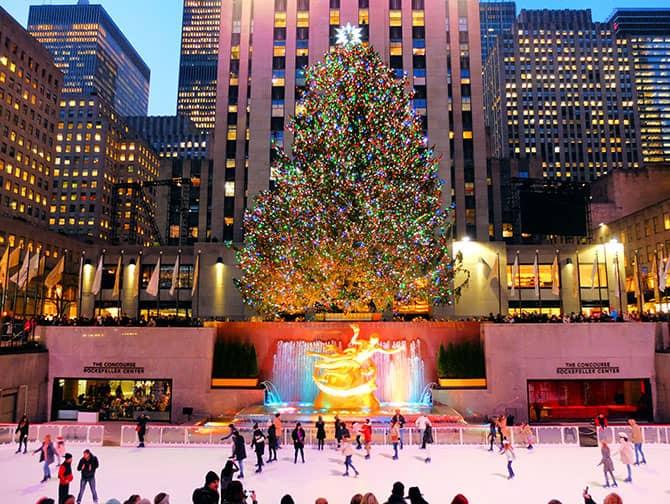 Skridskoåkning i New York - Skridskoåkning vid Rockefeller Center