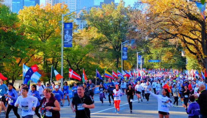 New York Marathon - Löpare i Central Park