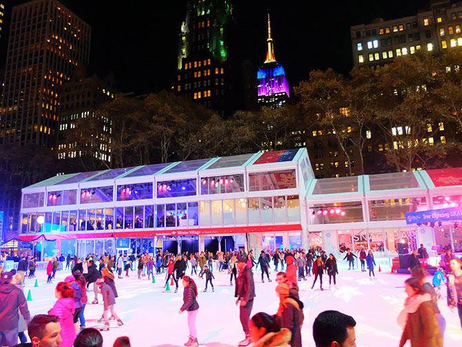 Julsäsongen i New York - Skridskoåkning i Bryant Park